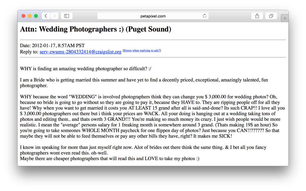 Safari browser screenshot of Craigslist post complaining about price of wedding photography.