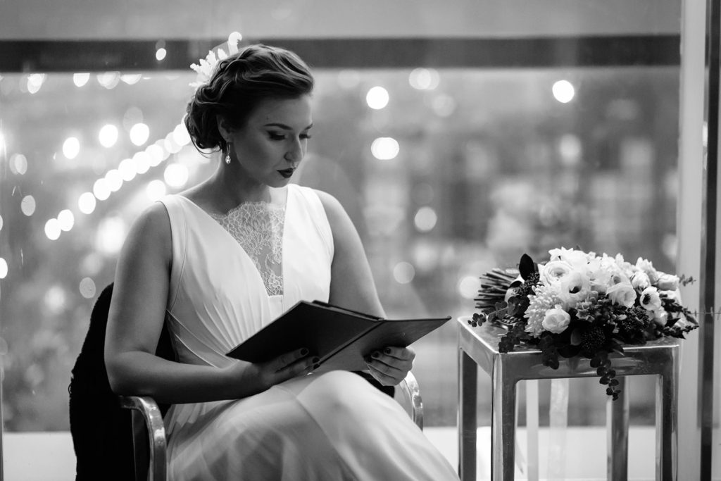 Bride sitting - choosing wedding photographer - toronto wedding photographer
