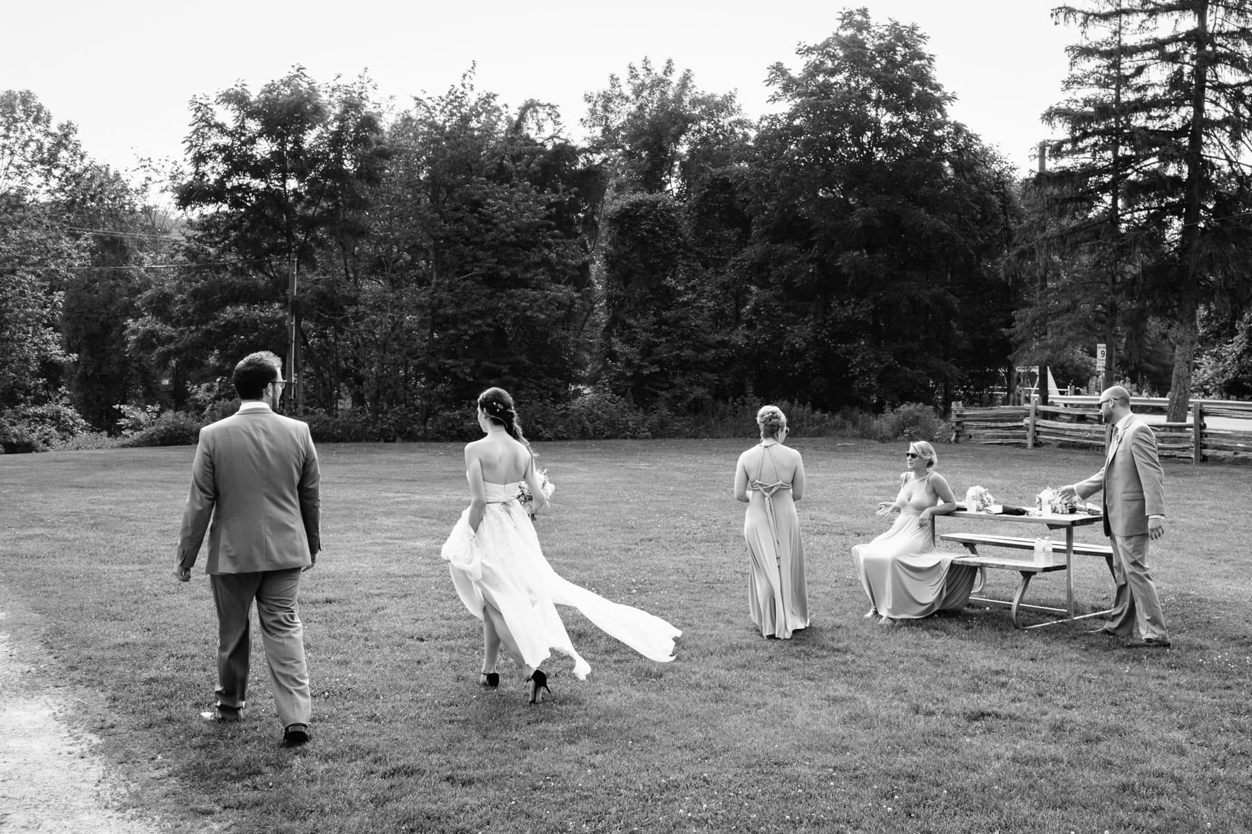 Bride and groom walk past several bridesmaids and best man seated at a picnic table at this rustic Ball's Falls wedding.