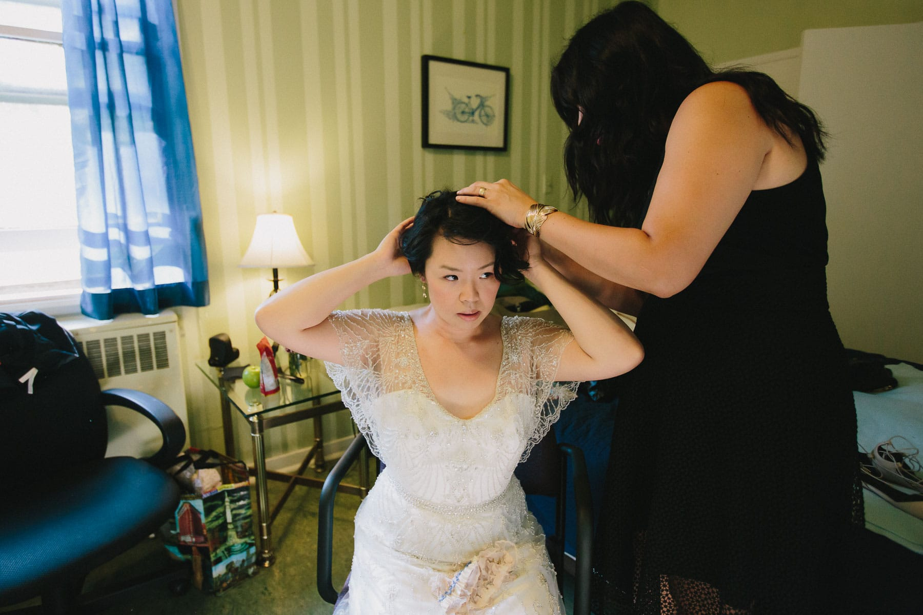 Bride's hair is done by friend, Artscape, Toronto Island wedding