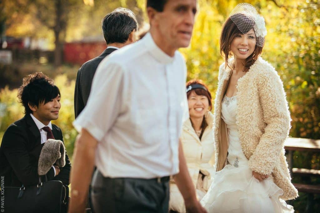 Smiling Japanese bride right after wedding ceremony.