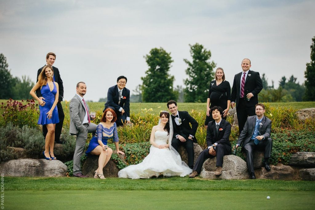 Editorial image of couple with several guests at a country club.