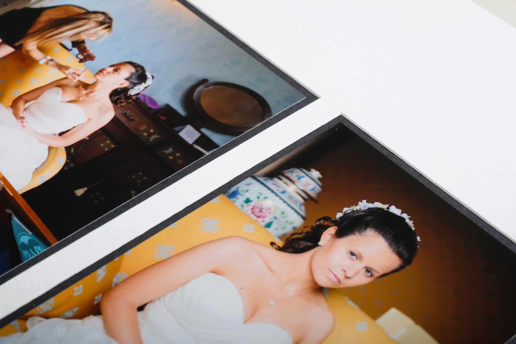 Closeup of pagemounted prints of Queensberry duo pagemount wedding photo album.