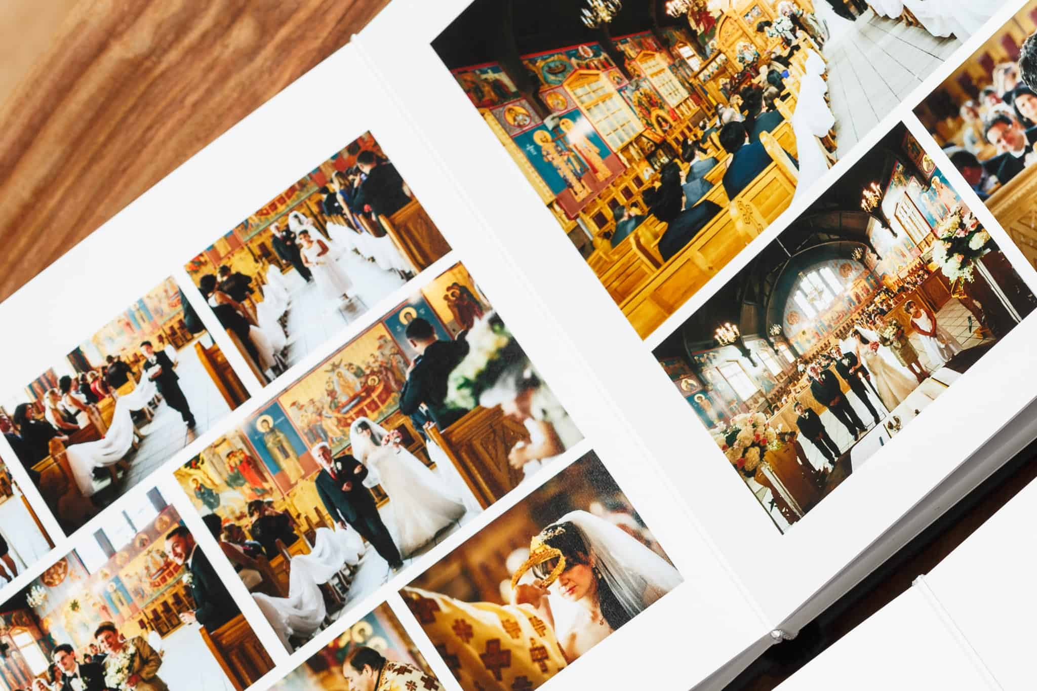 flushmount wedding photo album on wood surface