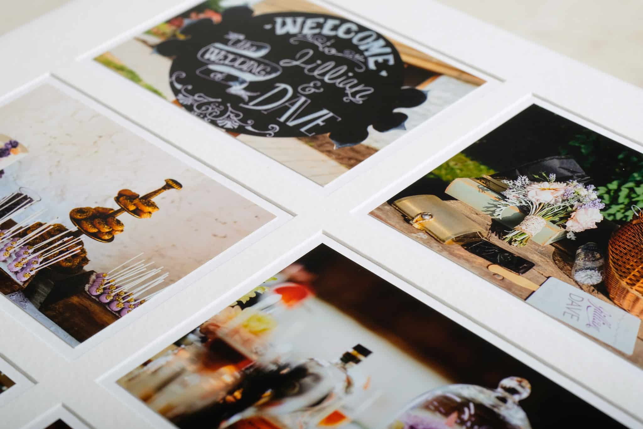 Detail of the precision involved in creating pagemount style wedding photo albums.