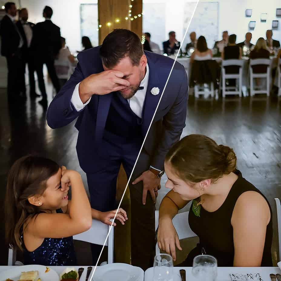 Raw format image wedding photography. The happy groom makes faces with two younger guests during the wedding reception at Twist Gallery in Toronto.