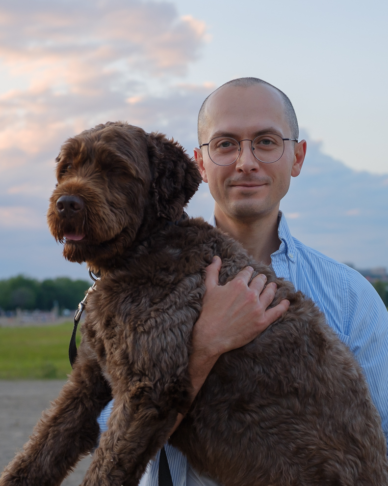 East Toronto wedding photographer posing with dog.